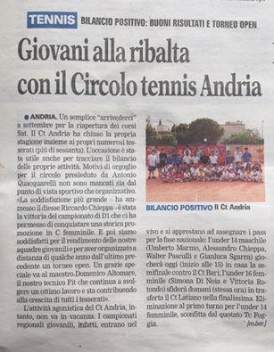 Articolo giornale Circolo Tennis Andria
